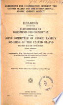 Agreement for Cooperation Between the U S  and the International Atomic Energy Agency
