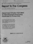 Department of Labor Has Failed to Take the Lead in Promoting Private Sector Productivity