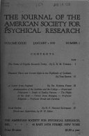 The Journal of the American Society for Psychical Research