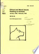 Ethical and Moral Issues Relating to Animals Book