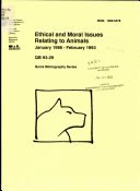 Ethical and Moral Issues Relating to Animals