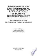 Opportunities for Environmental Applications of Marine Biotechnology