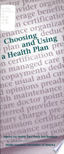 Choosing and Using a Health Plan Book