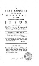 A free enquiry into the meaning of the     name Jesus