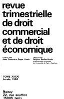 Revue trimestrielle de droit commercial et de droit économique