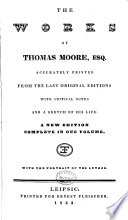 The Works of Thomas Moore  Esq Book