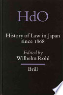 History Of Law In Japan Since 1868 Book PDF
