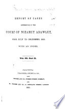 Reports of Cases Determined in the Court of Nizamut Adawlut for 1851-[1859]