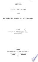 Letter to the Chairman of the Billericay Board of Guardians Book