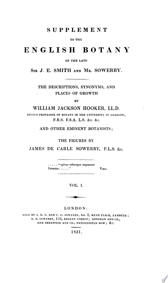 Supplement to the English Botany of