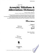 Acronyms, Initialisms & Abbreviations Dictionary  : A Guide to Acronyms, Abbreviations, Contractions, Alphabetic Symbols, and Similar Condensed Appellations , Volume 1,Parte 4