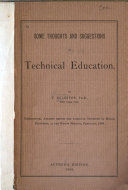 Some Thoughts and Suggestions on Technical Education