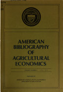 American Bibliography of Agricultural Economics Book