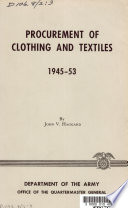 Procurement of Clothing and Textiles  1945 53 Book