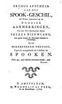 Pdf Probus afscheid aan het spook-geschil, of Weder-antwoord op de Noodige aanmerkingen, van ... Petrus Nieuwland ... op het Beredeneerd vertoog, tegen de mooglykheid van 't bestaan der spooken