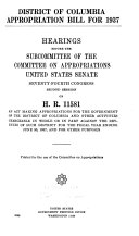 Interior Department Appropriation Bill for 1937, Hearings Before a Subcommittee of the Committee on Appropriations, United States Senate, Seventy-fourth Congress, Second Session, on H.R. 10630