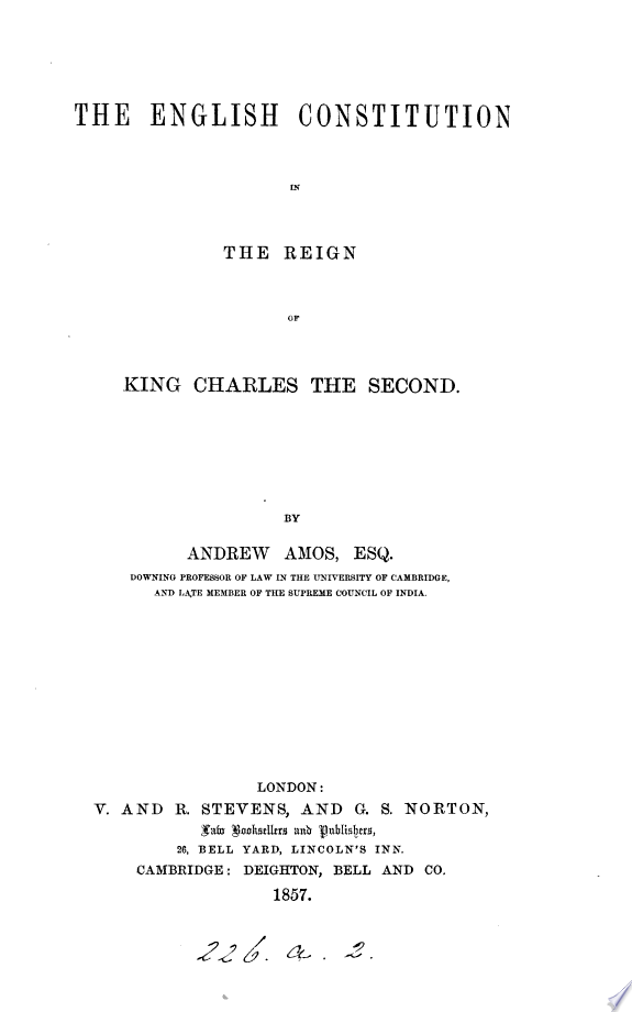 The English constitution in the reign of king Charles the second