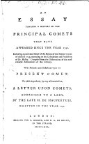 An Essay towards a history of the principal Comets since 1742