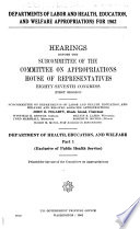 Departments of Labor and Health, Education, and Welfare Appropriatons for ... Department of Health, Education, and Welare