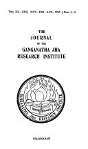 The Journal of the Ganganatha Jha Research Institute