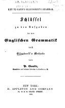 Pdf Schlüssel zu den Aufgaben in der englischen Grammatik nach Ollendorff's Methode