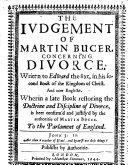 The Judgement of Martin Bucer Concerning Divorce