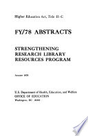 Strengthening Research Library Resources Program