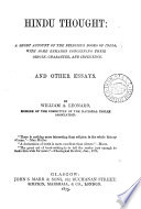 Hindu Thought A Short Account Of The Religious Books Of India And Other Essays