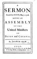 A Sermon Preach d at Exon  May 7  1718
