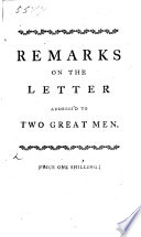 Remarks on the Letter Address d to Two Great Men