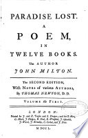 Paradise Lost a Poem in Twelve Books The Author John Milton The Second Edition With Notes of Various Authors by Thomas Newton