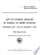 List Of Journal Articles By Bureau Of Mines Authors With Subject Index