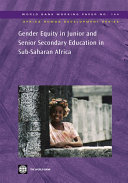 Pdf Gender Equity in Junior and Senior Secondary Education in Sub-Saharan Africa