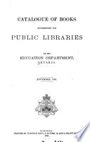 Catalogue of Books Recommended for Public Libraries     November  1895 Book PDF
