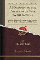 A Handbook Of The Epistle Of St Paul To The Romans
