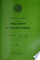 Journal and Proceedings of the Royal Society of New South Wales