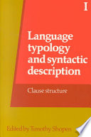 Language Typology And Syntactic Description Volume 1 Clause Structure Book PDF