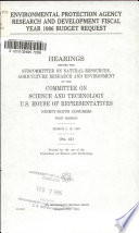 Environmental Protection Agency Research and Development Fiscal Year 1986 Budget Request