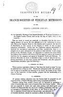 Temporary Rules of the Branch Societies of Wesleyan Methodists in the Eighth London Circuit