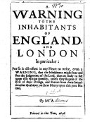 A Warning to the inhabitants of England  and London in particular     By M  A   i e  Mary Adams