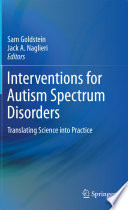 Interventions For Autism Spectrum Disorders Book PDF