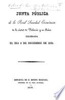 Junta pública de la Real Sociedad Económica ... celebrada el dia 8 de Diciembre de 1826