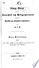 Einige Worte   ber Die Statistik Im Allgemeinen und   ber Die Statistik Von Frankfurt Insbesondere Book