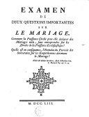 Examen de deux questions importantes sur le mariage
