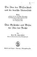 Die Idee der Wissenschaft und die deutsche Universität