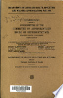 Departments of Labor and Health  Education and Welfare Appropriations for 1966 Book