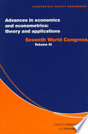 Advances in Economics and Econometrics  Theory and Applications