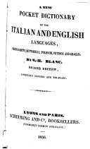 A New Pocket Dictionary of the Italian and English Languages  from Baretti