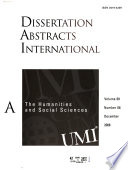 Dissertation Abstracts International  : The humanities and social sciences