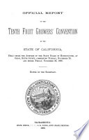 Official Report of the Tenth Fruit Growers' Convention of the State of California